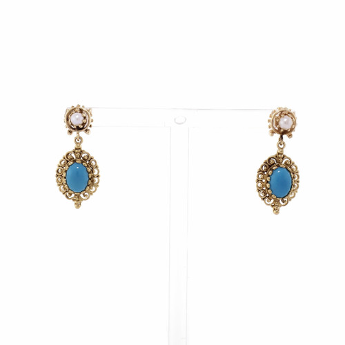 Turquoise Diamond 14k Yellow Gold Dangle Earrings