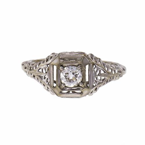 Diamond Filigree Art Deco White Gold Engagement Ring