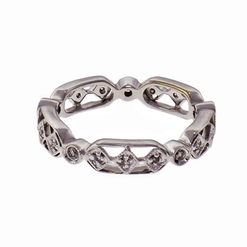 .15ct Diamond 18k White Gold Wedding Band Ring