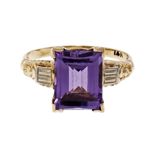 2.84ct Emerald Cut Amethyst 2-Tone 14k Gold Ring