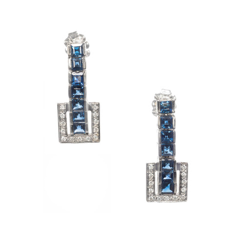 14K White Gold Sapphire and Dimaond Dangle Earrings