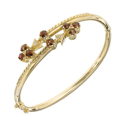 Diamond Garnet Yellow Gold Bangle Bracelet