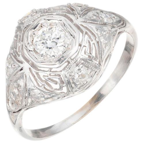 .30ct Diamond Filigree Art Deco Platinum Engagement ring.