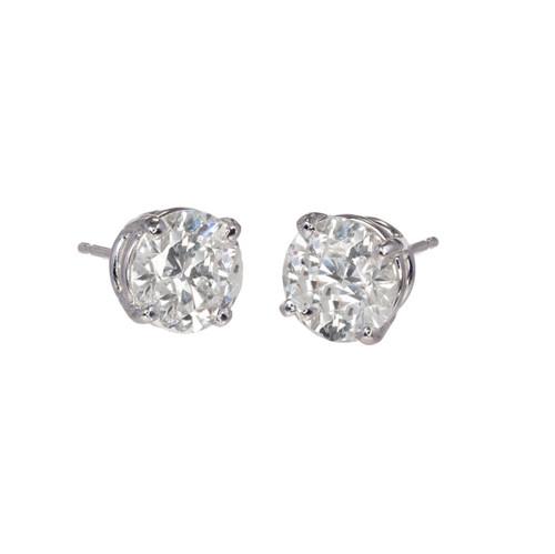 3.46 Carat Diamond White Gold Stud Earrings