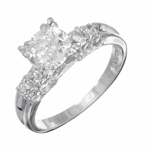 .90 Carat Diamond Old European Cut Platinum Engagement Ring