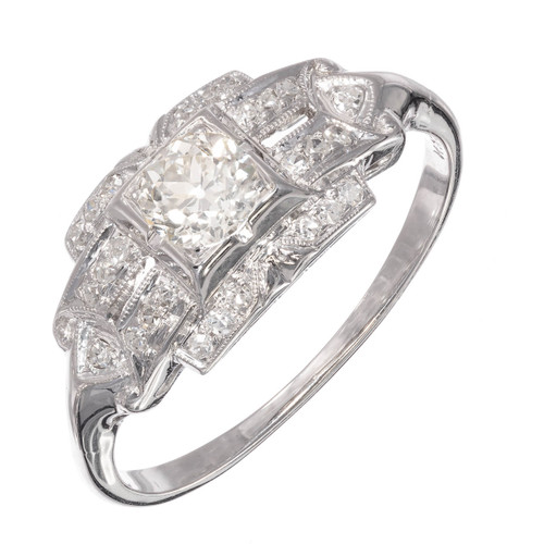 .30 Carat Old Euro Diamond White Gold Art Deco Engagement Ring