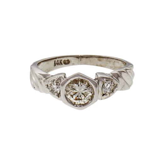 .49ct Diamond 3 Stone 14k White Gold Engagement Ring