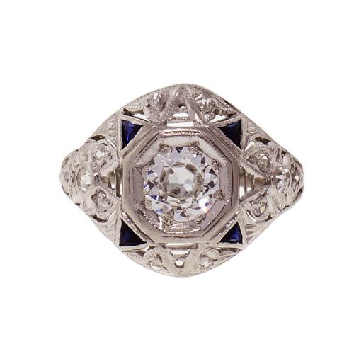 .49ct Diamond Sapphire Platinum Art Deco Engagement Ring
