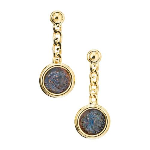 Yellow Gold Ancient Caesar Coin Dangle Drop Earrings