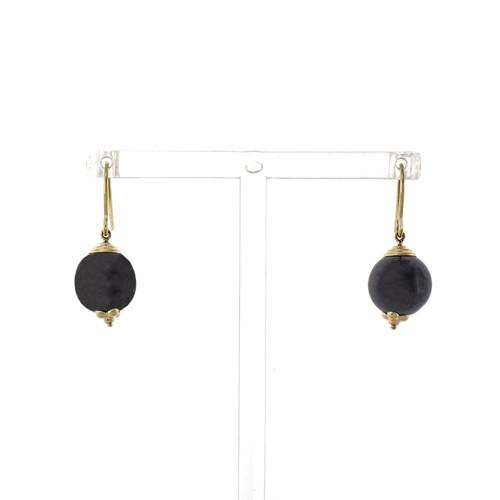 Hematite Bead Drop 14k Yellow Gold Dangle Earrings