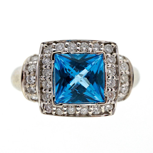 Estate 2.00ct Bright Blue Topaz Diamond 14k White Gold Ring