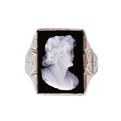 Carved Cameo 14k White Gold Cocktail Ring