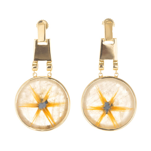 94.62ct Rutilated Quartz 14k Yellow Gold Dangle Earrings