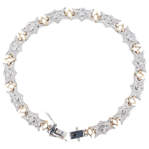 .57 Carat Diamond White Yellow Gold Link Bracelet