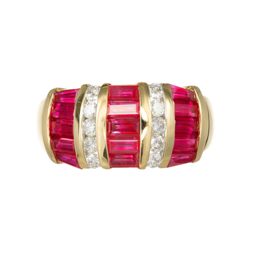 1.80ct Ruby Diamond 14k Yellow Gold Cocktail Ring