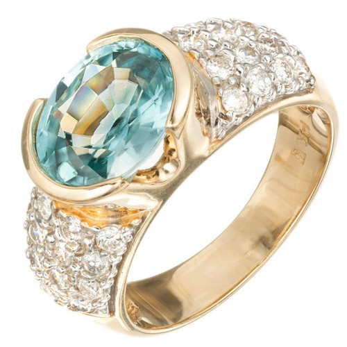 3.00ct Oval Blue Zircon Diamond 14k Yellow Gold Engagement Ring