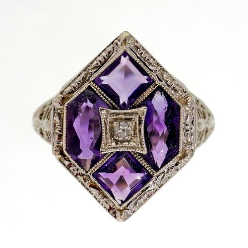 Antique Art Deco 14k White Gold Filigree 1.30ct Amethyst Diamond Ring