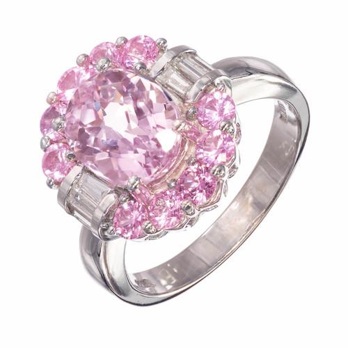 Amethyst Diamond Sapphire Halo 14k White Gold Engagement Ring