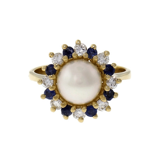 Round Cultured Pearl Diamond Halo 18k Yellow Gold Cocktail Ring