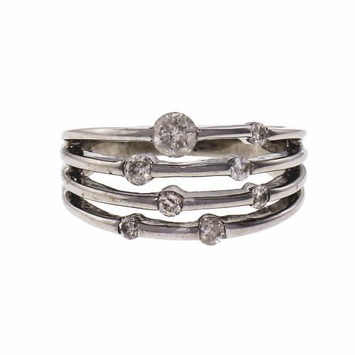 Four Wire Diamond 14k White Gold Cocktail Ring