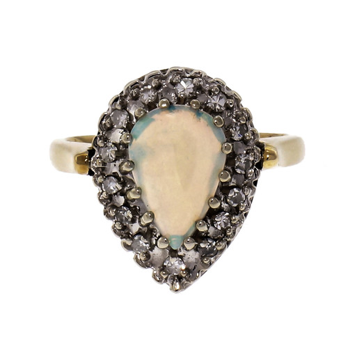 .80ct Pear Opal Halo 14k Yellow White Gold Cocktail Ring