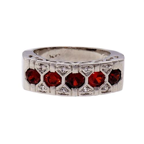 1.00ct Five Garnet Diamond Halo 14k White Gold Band Ring