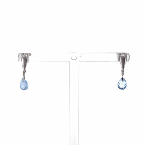 1.92ct Briolette Aquamarine Diamond Dangle 14k White Gold Earrings