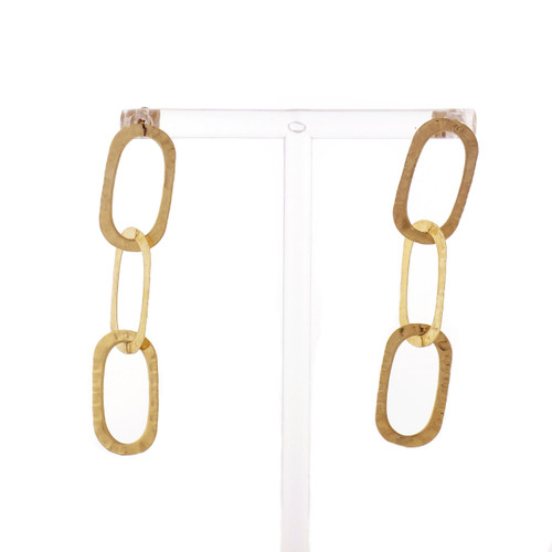 14k Yellow Gold Large Oval Link Chain Earrings