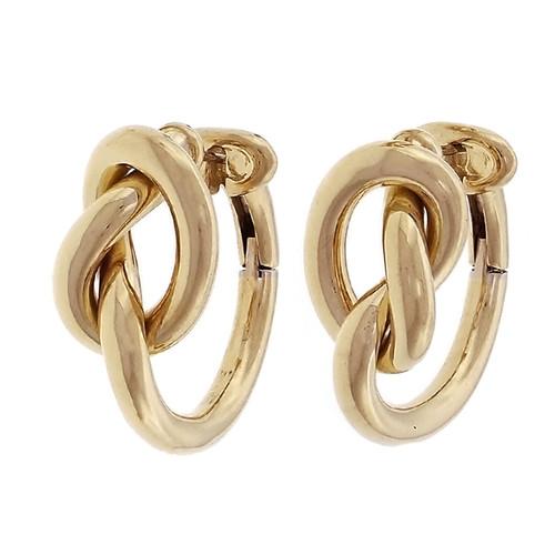 18k Yellow Gold Pretzel Design Loop Earrings