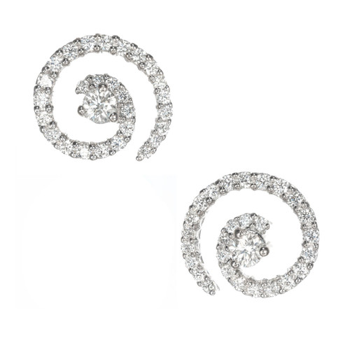 18k White Gold Diamond Earrings With Center Stud and Accent Diamonds