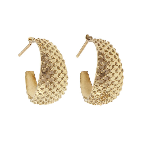 14k Yellow Gold ¾ Hoop Earrings With Raised Texture