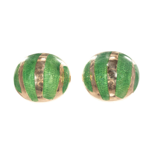 18k Yellow Gold Button Domed Cufflinks & Green Enamel