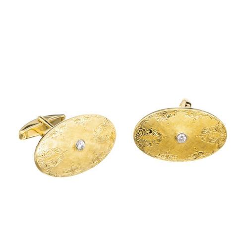 18k Yellow Gold Oval Cufflinks With Diamonds