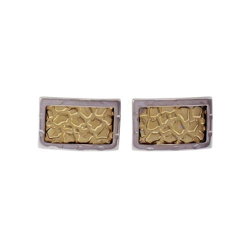14k Yellow & White Gold Rectangular Stud Earrings