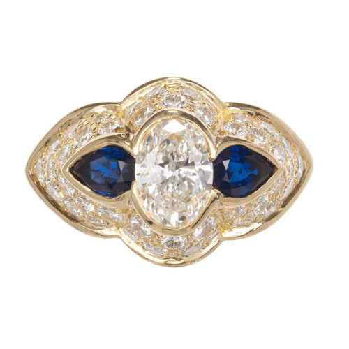 1.13 Carat Diamond Sapphire Gold Scalloped Engagement Ring