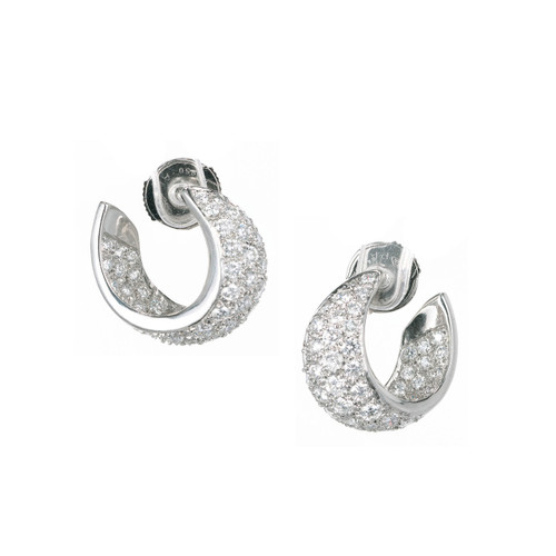 1.68 Carat Diamond Pave Swirl Hoop Platinum Earrings