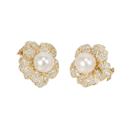 2.30 Carat Cultured Pearl Diamond Flower Design Gold Earrings