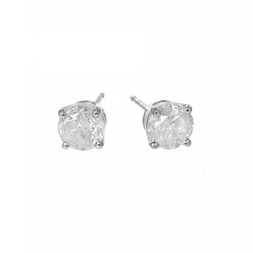 1.46 Carat Diamond White Gold Stud Earrings