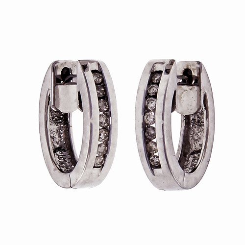 .96ct Channel Set Diamond 10k White Gold Huggie Hoop Earrings