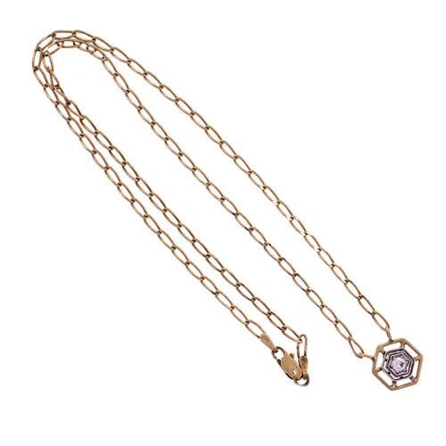 Diamond Transitional Cut 2-Tone Gold Pendant