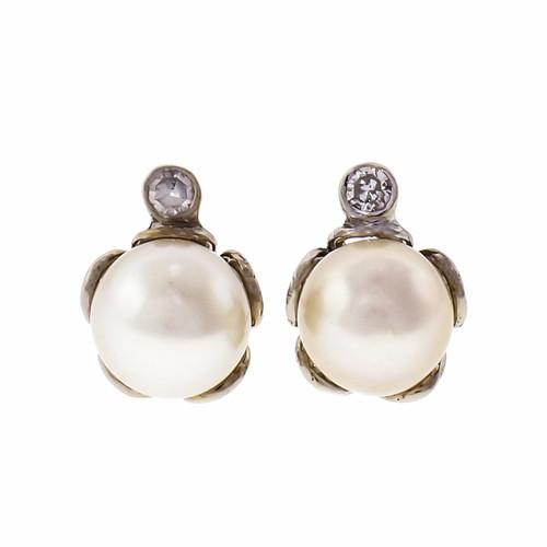 Akoya Pearl Diamond 14k White Gold Stud Earrings