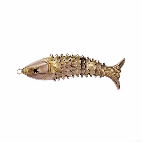 Garnet 14k Yellow Gold Flexible Fish Pendant