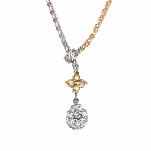 .85ct Yellow White Diamond 2-Tone Drop necklace