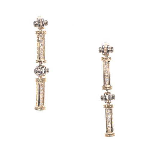 1.20ct Diamond 2-Tone 14k Gold Drop Dangle Earrings