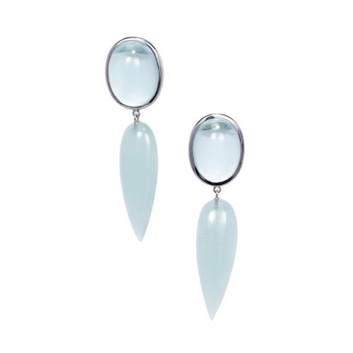 Peter Suchy 74.19ct Aquamarine 18k White Gold Dangle Earrings