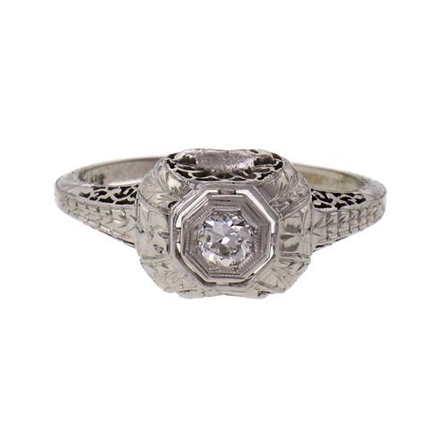 Belais Art Deco Diamond Engagement Ring 18k White Gold