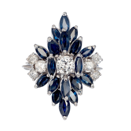 2.90ct Diamond Sapphire 14k White Gold Cluster Cocktail Ring