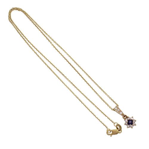 Sapphire Diamond Halo 14k Yellow Gold Pendant Necklace