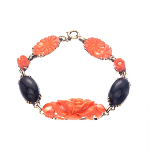14k Yellow Gold Natural Coral & Onyx Bracelet