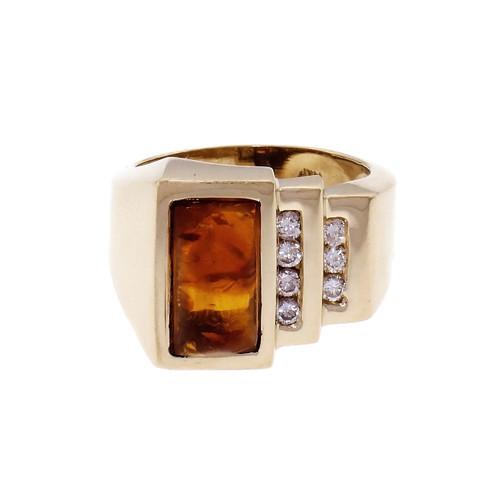 14k Yellow Gold Amber & Diamond Ring